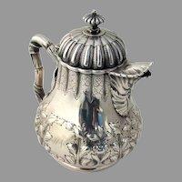 Grosjean Woodward Ornate Repousse Creamer Sterling 1855 Mono