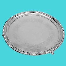 Walker Hall Victorian Silverplate Footed Tray Pierced Border 1880