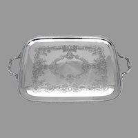 Gorham Large Engraved Two Handled Tray Silverplate 1940