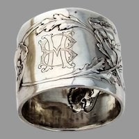 Art Nouveau German Napkin Ring Lutz Weiss 800 Silver Mono