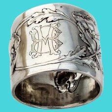 Art Nouveau German Napkin Ring Lutz Weiss 800 Silver Mono