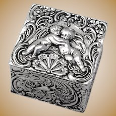Repousse Cherub Small Box Gilt Interior Hanau Neresheimer Silver 1890s