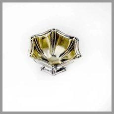 Small Hexagonal Open Salt Dish Gilt Woodside Sterling Silver Mono