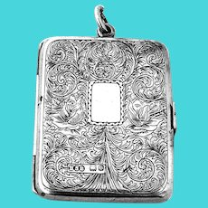English Engraved Compact Mirror Picture Frame Sterling Silver 1900
