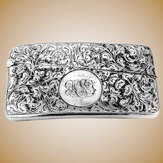 English Engraved Card Case Horton Allday Sterling Silver 1902 Mono