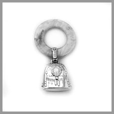 Birth Record Baby Rattle Teething Ring Webster Sterling Silver Engraved