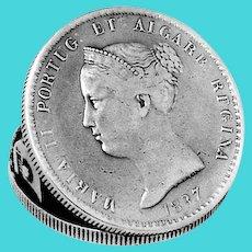 Portuguese 1000 Reis Silver Coin Paper Clip