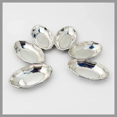 German Oval Nut Cups Set Faceted Border Lutz Weiss 835 Silver