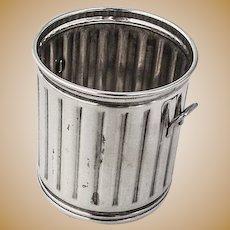 Trash Can Form Toothpick Holder Sterling Silver