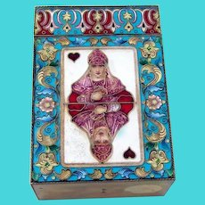 Russian Enamel Gilt Playing Card Box Fyodor Ruckert 88 Standard Silver