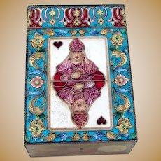 Russian Enamel Gilt Playing Card Box Fyodor Ruckert 88 Standard Silver