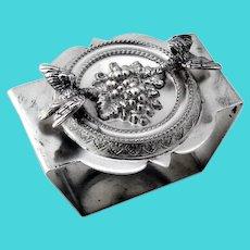 Figural Bird Grape Medallion Napkin Ring Trapezoid Form Sterling Silver