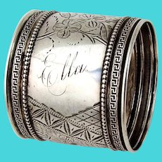 Greek Key Beaded Border Floral Napkin Ring Coin Silver Inscribed