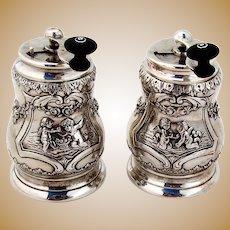 Hanau Ornate Cherub Pepper Grinders Pair Johann Kurz Sterling Silver