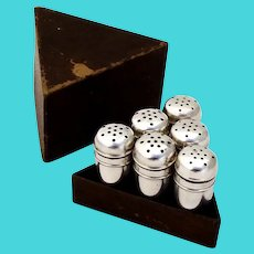 Individual Salt Pepper Shakers 3 Sets Meriden Brittania Sterling Silver