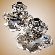 Swedish Figural Chambersticks Pair 830 Standard Silver 1861 Mono