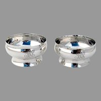 Tiffany Co Footed Open Salts Pair Sterling Silver 1877 Mono
