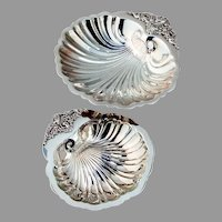 Wallace Baroque Shell Bon Bon Bowls Pair Silverplate