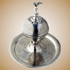 Ornate Islamic Incense Burner Stand Bird Finial Egyptian 900 Silver 1950s