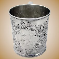 Floral Shell New Years Childs Cup Hayden Gregg Southern Coin Silver