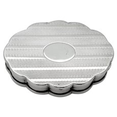 Volupte Scalloped Oval Mirrored Box Sterling Silver
