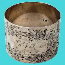 Bright Cut Engraved Floral Napkin Ring Coin Silver 1870s Mono