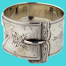 Engraved Floral Buckle Form Napkin Ring Coin Silver 1870 Mono