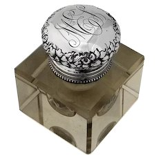 Crystal Inkwell Repousse Floral Lid Sterling Silver 1900 Mono