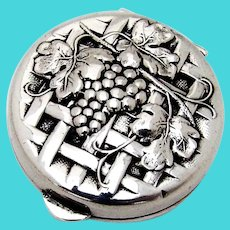 Repousse Grape Weave Design Round Pill Box Hinged Lid Sterling Silver