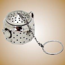 Amcraft Figural Teapot Tea Ball Sterling Silver 1940