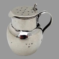 English Small Jug Form Shaker Sterling Silver 1895 Chester Mono