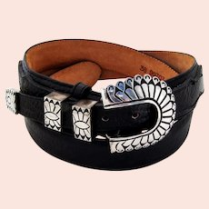 Kenneth Bill Navajo Sterling Silver Buckle Belt Leegin Genuine Leather