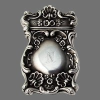 High Relief Repousse Scroll Shell Match Safe Sterling Silver 1900 Mono