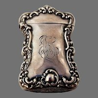 Baroque Scroll Shell Match Safe Watrous Sterling Silver 1910 Mono