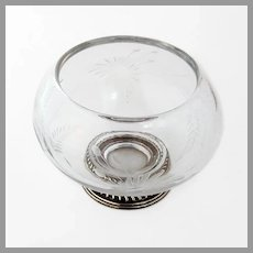 Floral Cut Glass Sugar Bowl Gadroon Foot Sterling Silver