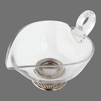 Glass Creamer Gadroon Foot Sterling Silver Frank Whiting