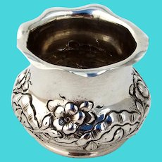 Repousse Floral Toothpick Holder Ferdinand Fuchs Sterling Silver 1885