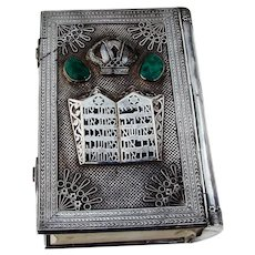 Hebrew Bible Ornate Sterling Silver Cover Stone Insets Dugma Israel