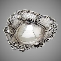 English Ornate Heart Form Bowl Edward Hutton Sterling Silver 1893
