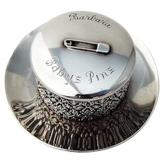 Baroque Openwork Babys Pins Box Sterling Silver 1900