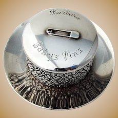 Baroque Openwork Babys Pins Box Sterling Silver 1900