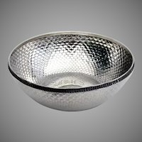 Honeycomb Peened Serving Bowl Wood Hughes Sterling Silver 1882