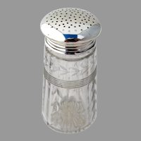 Foliate Cut Glass Sugar Shaker Sterling Silver 1930