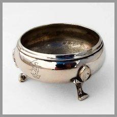 Fleur De Lis Footed Open Salt Dish Lion Crown Crest Coin Silver