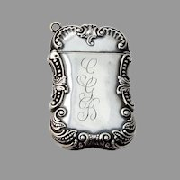 Baroque Beaded Scroll Match Safe Sterling Silver Mono