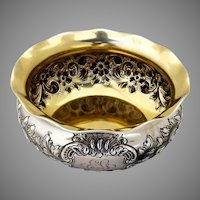 Repousse Floral Bowl Gilt Interior Gorham Sterling Silver 1895 Mono