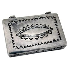 Old Pawn  Navajo Engraved Pill Box Sterling Silver 1960