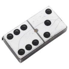 English Enamel Domino Match Safe Thomas Johnson Sterling Silver 1881