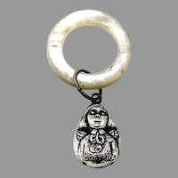 Buster Brown Baby Rattle Teething Ring Sterling Silver 1900