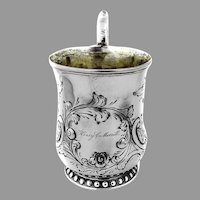 Large Repousse Floral Foliate Cup Eoff Shepard Coin Silver 1855 Inscribed